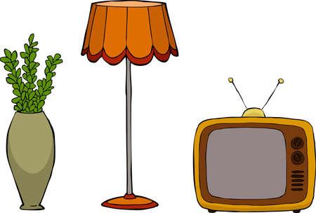 lampekap: Vaas lamp en een televisie in een retro stijl vector