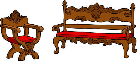 Chair and a couch renaissance vector illustration Vector