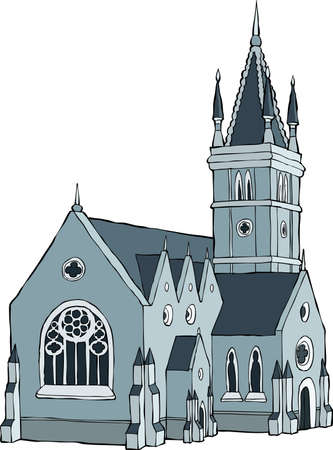 ancient buildings: Gothic castle on a white background vector illustration