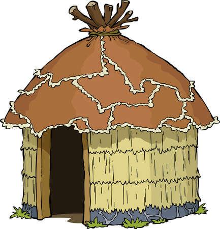 primitive: Native hut on a white background vector illustration