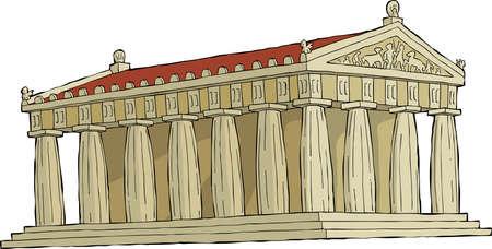 arte greca: Il Partenone su bianco illustrazione vettoriale sfondo