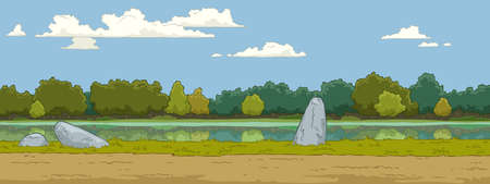 The natural landscape cartoon background  Vector