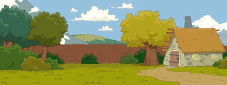 wooden hut: The natural landscape cartoon background