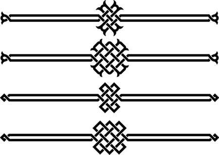 Cuatro adornos de mimbre en una ilustración de fondo vector