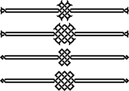 braid: Four wicker ornaments on a white background vector illustration Illustration