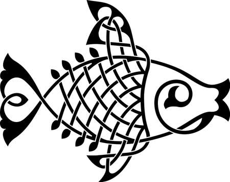 Fish ornate silhouette on a white background vector