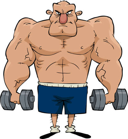 Big man with dumbbells in hands