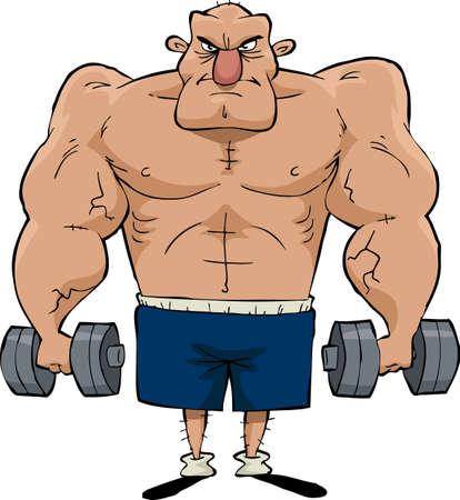 hombre fuerte: Hombre grande con pesas en las manos