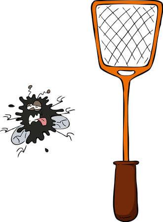mosca caricatura: Mosca aplanados con un matamoscas