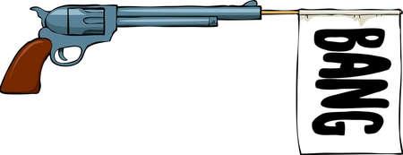 shoots: Toy arma dispara una explosi�n bandera Vectores