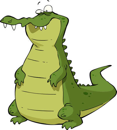 cayman: Caiman on a white background illustration