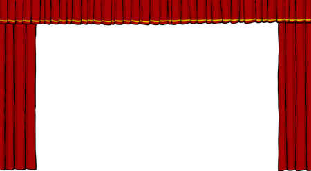 red stage curtain: Theater curtain on white background illustration