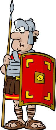 cascos romanos: Legionario en una ilustraci�n de fondo blanco