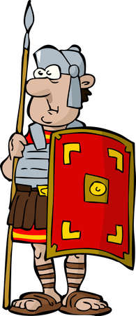 roman: Legionnaire on a white background illustration Illustration