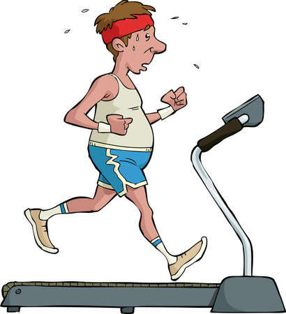 A man on a treadmill illustration