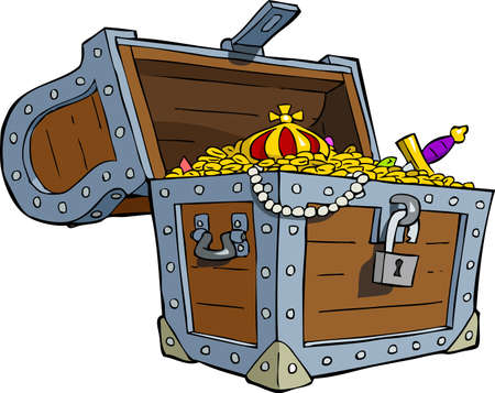 gold treasure: A treasure chest on a white background illustration Illustration