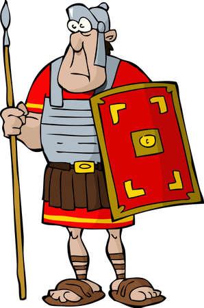 soldati romani: Legionario su uno sfondo bianco Vettoriali