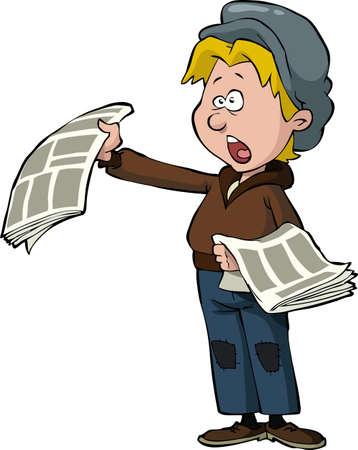 estereotipo: Newsboy en un fondo blanco Vectores