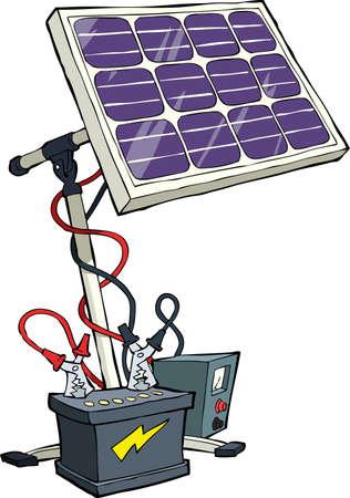 baterii: Bateria słoneczna na białym tle