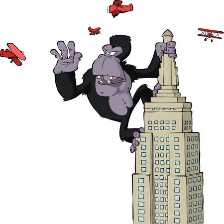 cute cartoon monkey: King Kong on a skyscraper vector illustration