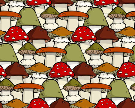 Cartoon seamless background with mushrooms Stock Vector - 15396732