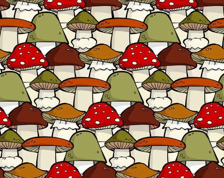 mycelium: Cartoon seamless background with mushrooms