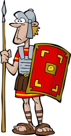 cascos romanos: Legionario en un fondo blanco