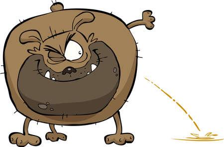 Perro hace pis en una ilustración de fondo vector