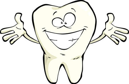 Happy tooth on a white background illustration Vector