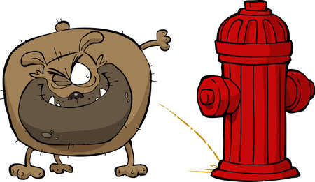 fire hydrant: Cartoon dog pees on hydrant