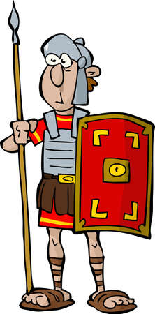 ancient roman: Legionnaire on a white background