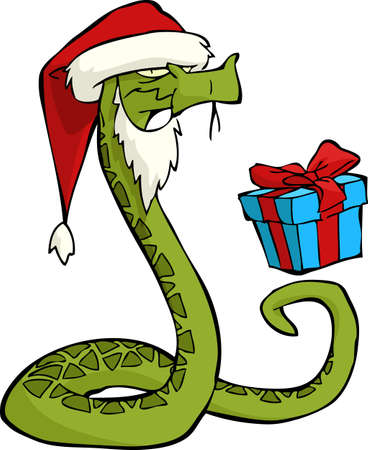 Santa snake on a white background illustration Vector
