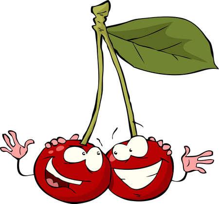 amigos comiendo: Cereza en una ilustraci�n de fondo vector Vectores