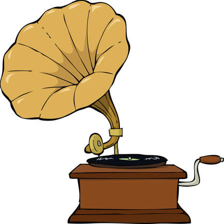 music machine: Gramophone on a white background vector illustration