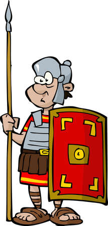 soldati romani: Legionario su bianco illustrazione vettoriale sfondo