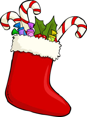 Red Christmas sock with gifts vector illustration Stock Vector - 16269156