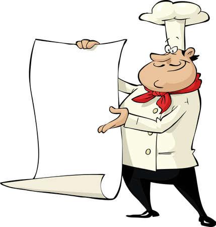chef caricatura: Cocine en una ilustración de fondo vector