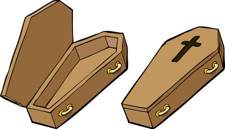 coffins: Two coffins on a white background vector illustration