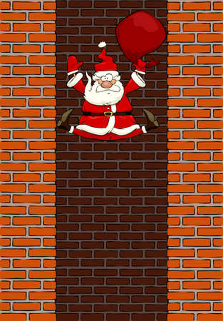 Falling Santa Claus in the chimney illustration Vector
