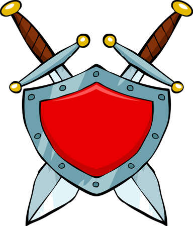 iron fun: Cartoon red shield and swords illustration
