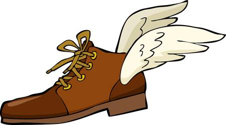 flit: Shoe with wings on a white background illustration