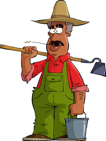 hoe: Farmer on a white background illustration