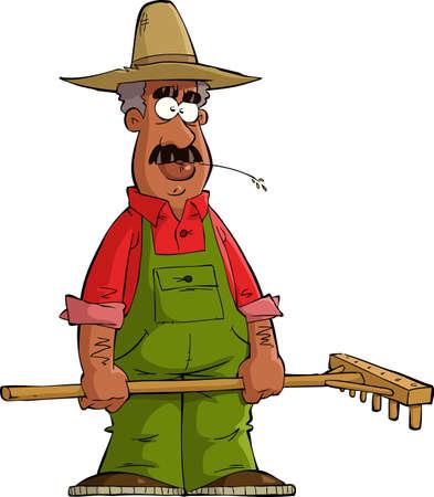 raking: Farmer on a white background illustration