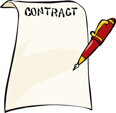 contracts: Contract on a white background illustration Illustration