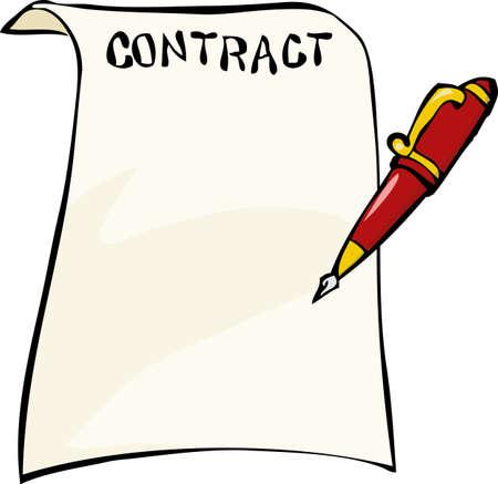 contratos: Contrato sobre un fondo blanco Ilustraci�n