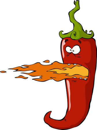 mexican cartoon: Fiery pepper on white background illustration Illustration