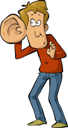 El hombre con la ilustración de oreja grande