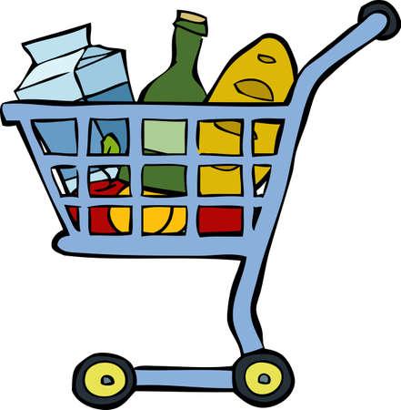 mercearia: Carrinho de compras em um fundo branco ilustra