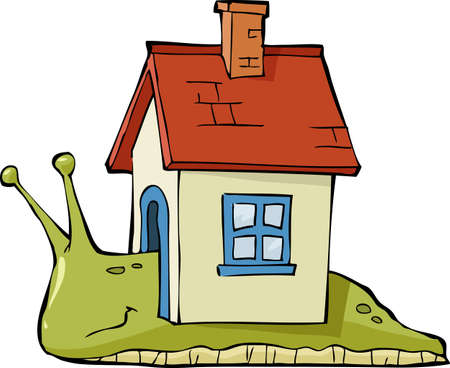 Snail with a house at the back illustration Vector