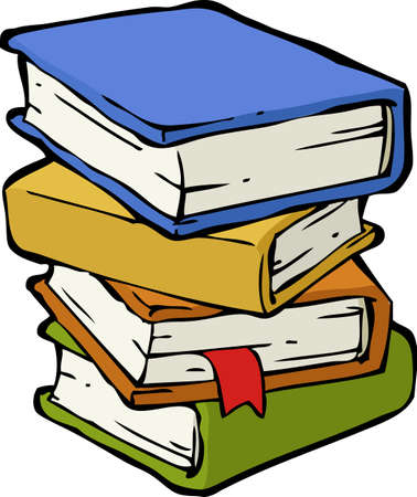 pile books: A stack of books on a white background illustration